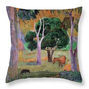 Dominican Landscape Throw Pillow by Paul Gauguin