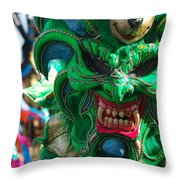 Dominican Republic Carnival Parade Green Devil Mask Throw Pillow
