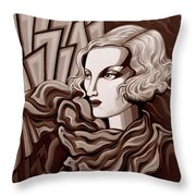 Dominique In Sepia Tone Throw Pillow