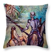 Don Quixote With Dragon Throw Pillow