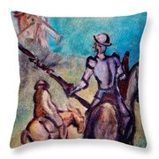 Don Quixote With Windmill Throw Pillow