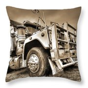 Done Hauling - Sepia Throw Pillow