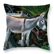 Donkey And Old Tractor Throw Pillow