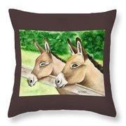 Donkey Duo Throw Pillow