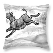 Donkey Frolicking In The Snow Throw Pillow