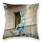 Donkey In The Placa Throw Pillow