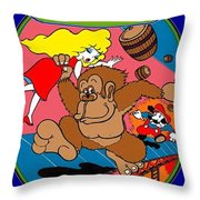 Donkey Kong Arcade Game Art Throw Pillow