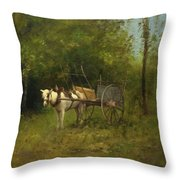 Donkey With Cart Throw Pillow
