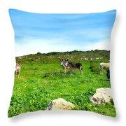 Donkeys Under A Blue Sky In Green Hills Throw Pillow