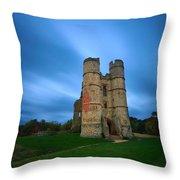 Donnington Castle At Dusk Throw Pillow