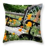Don't Sit On The Poppies Throw Pillow