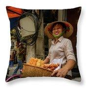 Donut Seller Throw Pillow