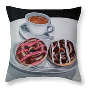 Donuts And Coffee- Donas Y Cafe Throw Pillow