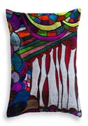 Doodle Page 6 - Bones And Curtains - Ink Abstract Throw Pillow