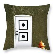 Door And Orange Hydrant  Throw Pillow