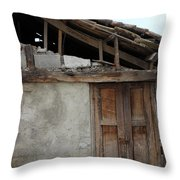 Door In The Wall Of A Building Throw Pillow