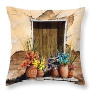 Door With Flower Pots Throw Pillow
