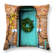 Door With Holiday Reef Throw Pillow