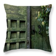 Door With Padlock Throw Pillow by Bernard Jaubert