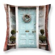 Doors Of Boston Blue Throw Pillow