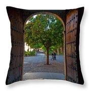 Doorway And Arch Between Gardens Throw Pillow