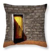 Doorway To A Yellow Curtain Throw Pillow