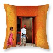 Doorway Undressing Throw Pillow by Harry Spitz