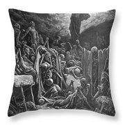 Dor�: Valley Of Dry Bones Throw Pillow by Granger