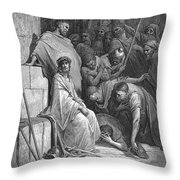 Dore: Christ Mocked Throw Pillow by Granger