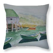Dories In Waiting Throw Pillow