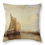 Dort Or Dordrecht The Dort Packet Boat From Rotterdam Becalmed Throw Pillow