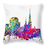 Dortmund Skyline-colorful Throw Pillow