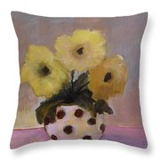Dotted Vase With Yellow Flowers Throw Pillow