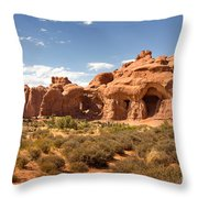 Double Arch Famous Landmark In Arches National Park Utah Throw Pillow