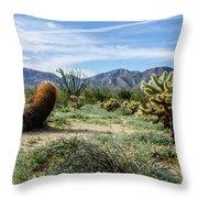 Double Barrel Cactus Throw Pillow