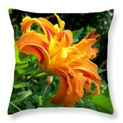 Double Blossom Orange Lily Throw Pillow