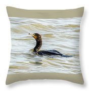 Double-breasted Cormorant Throw Pillow