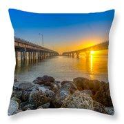 Double Bridge Sunrise - Tampa, Florida Throw Pillow