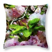 Double Cherry Blossoms Throw Pillow