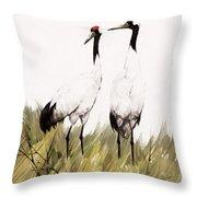 Double Crane Throw Pillow