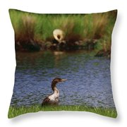 Double-crested Cormorant 2q Throw Pillow