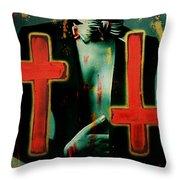 Double Cross La Femme Throw Pillow