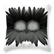 Double Daisy Noir Throw Pillow