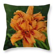 Double Day Orange Throw Pillow