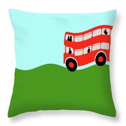 Double Decker Bus Throw Pillow
