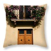 Double Doors And Balcony Throw Pillow