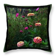 Double Framed Floral Throw Pillow