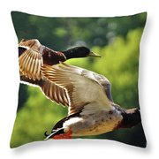 Double Green Heads In Flight Throw Pillow