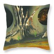 Double Moon Desert Throw Pillow
