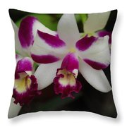 Double Orchid Throw Pillow